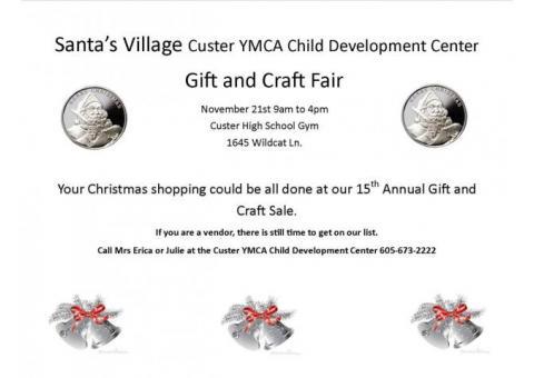 Custer YMCA Child Development Center 15th Annual Santa's Village Gift and Craft Fair.