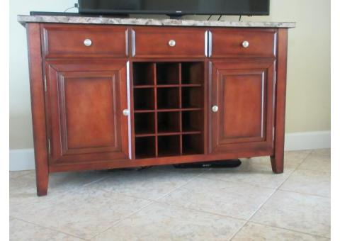 Marble Top Server/TV Stand with Wine Storage and Matching Coffee Table